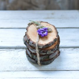 Alder wood bark coasters
